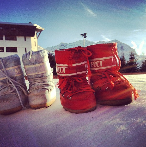 moon boots in the Italian Alps