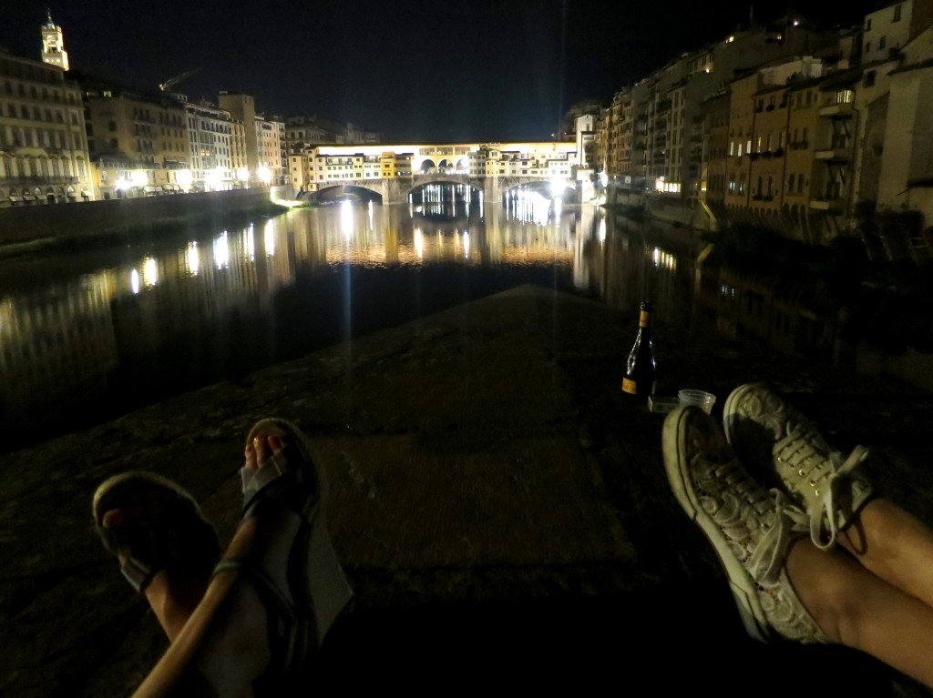 Drinking by Ponte Vecchio in Florence
