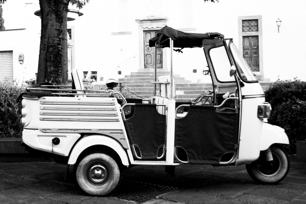 Ape Tour in Florence Tuscany, black and white