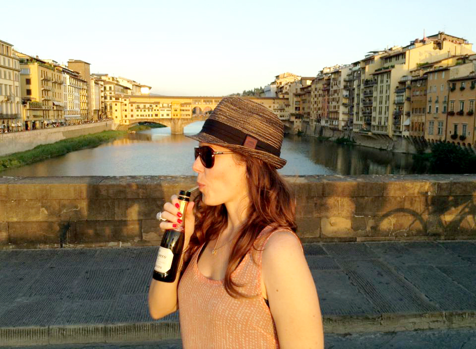 Drinking Prosecco in Florence Italy