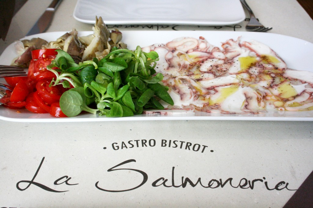 Octopus carpaccio in Florence