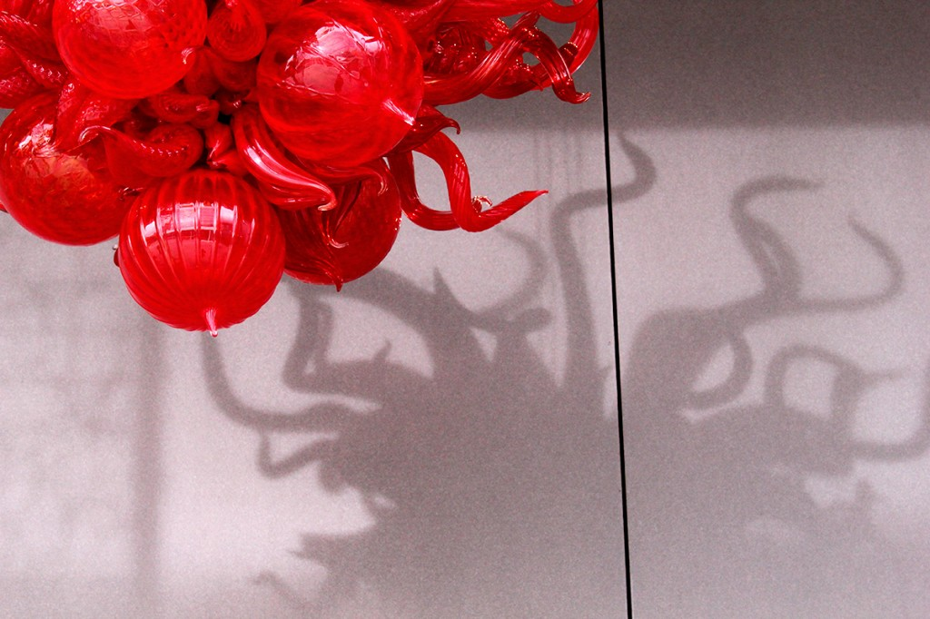 Red Chihuly chandelier in Seattle