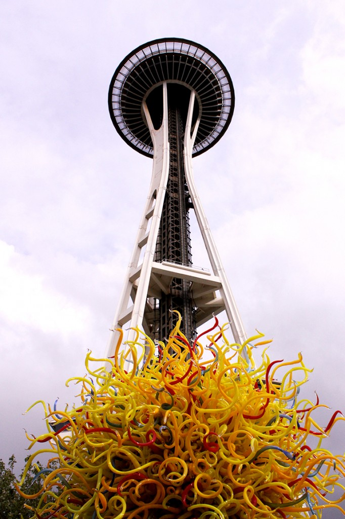 Space Needle and Chihuly yellow sculpture 2