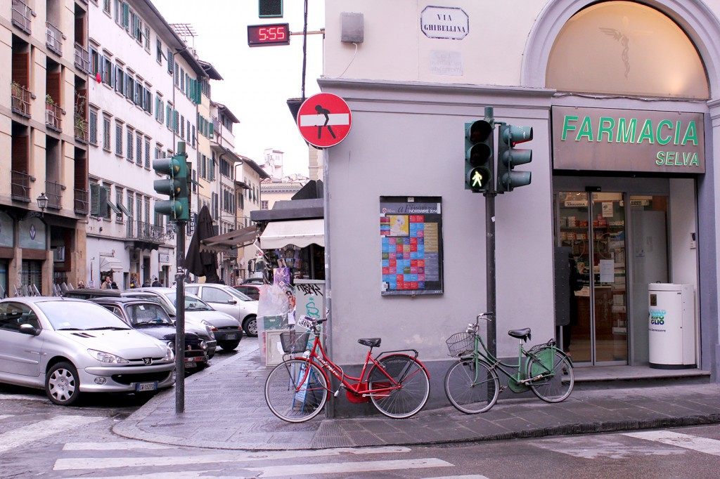 Bikes and Clet street art in Florence