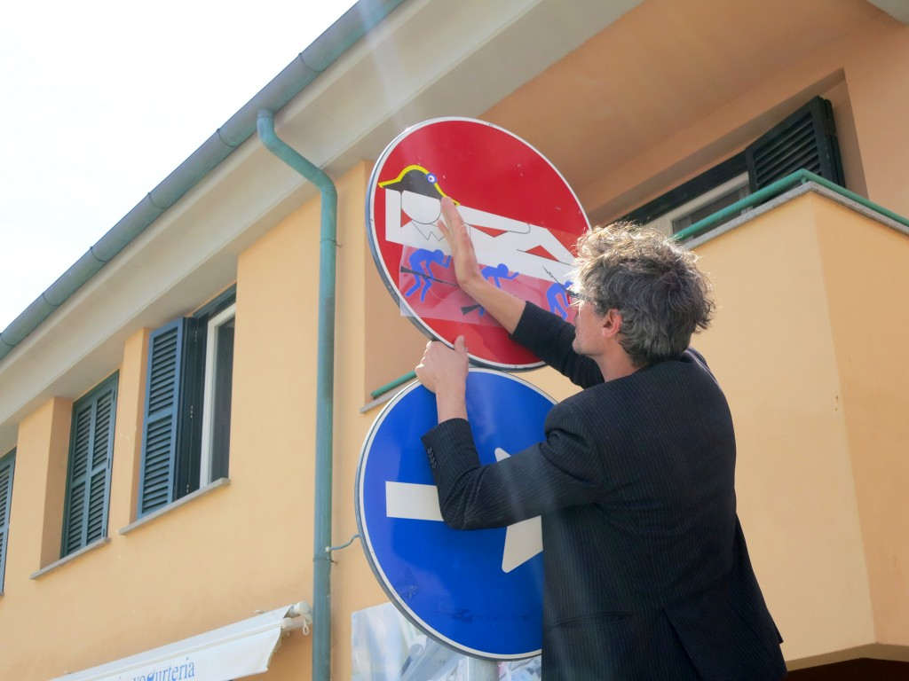 Clet artist working in Naples