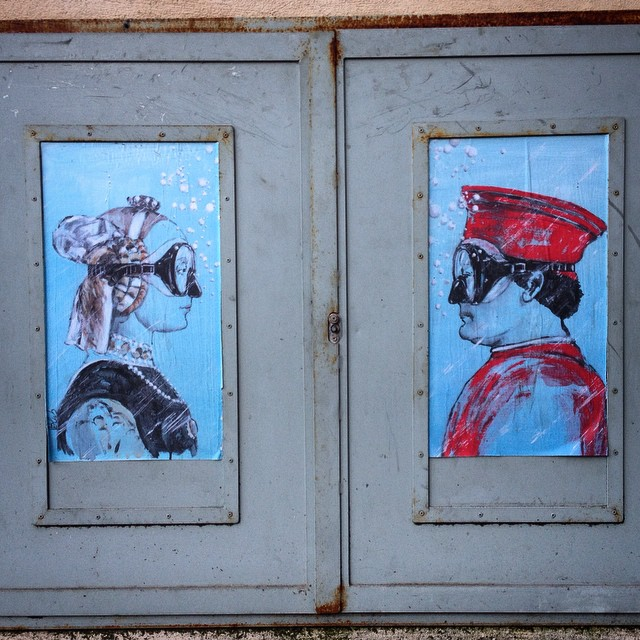 Duke and Duchess of Urbino street art in Florence