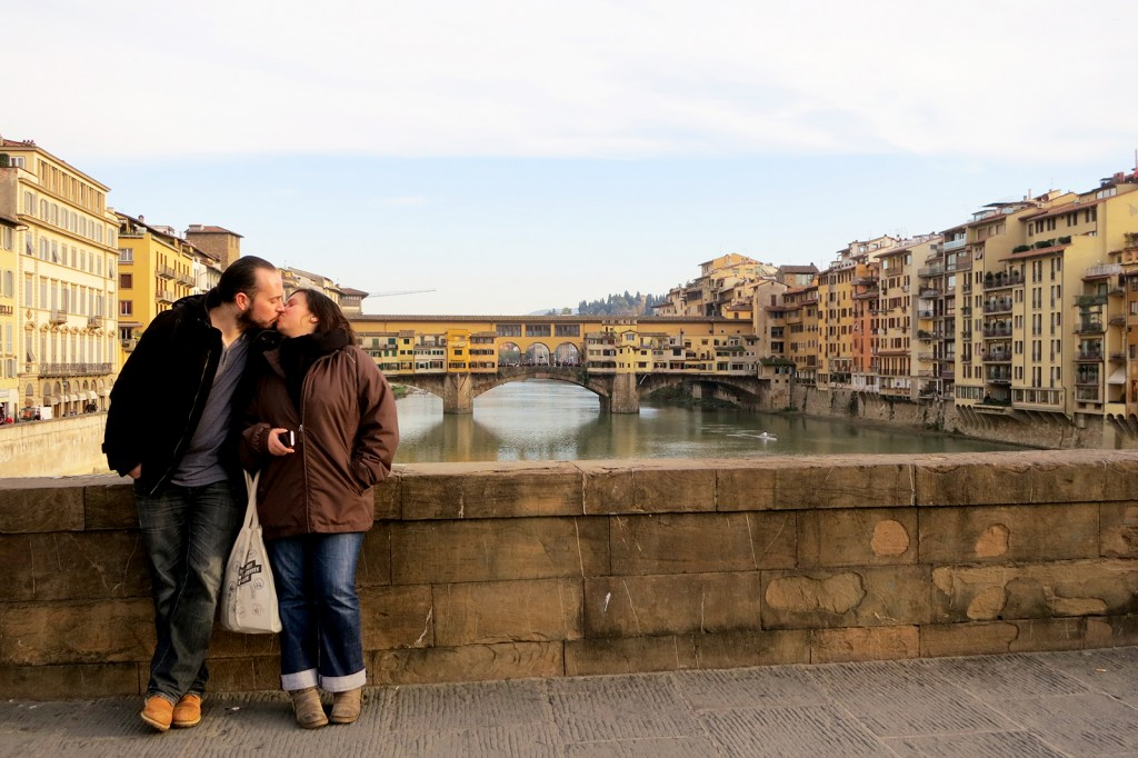 Kissing in Florence by Ponte Vecchi