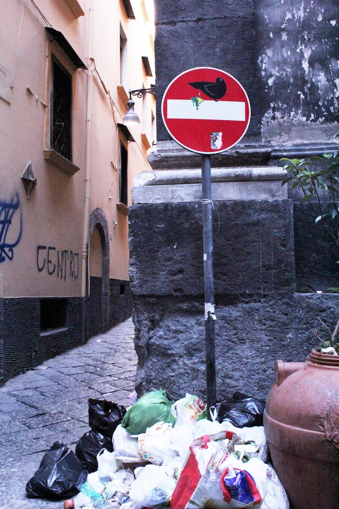 Clet street art in Naples, Italy