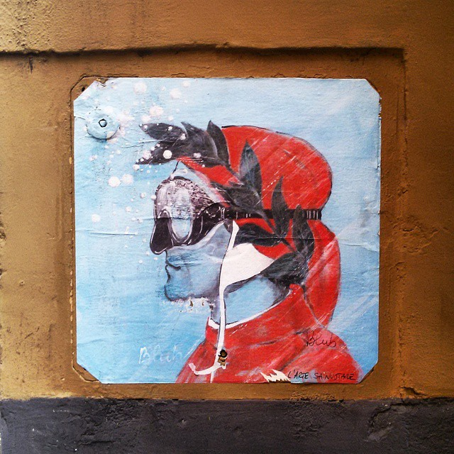 Street art in Florence of Dante by Blub artist